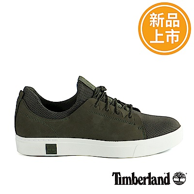 Timberland 男款深綠色正絨面皮革真皮綁帶運動鞋