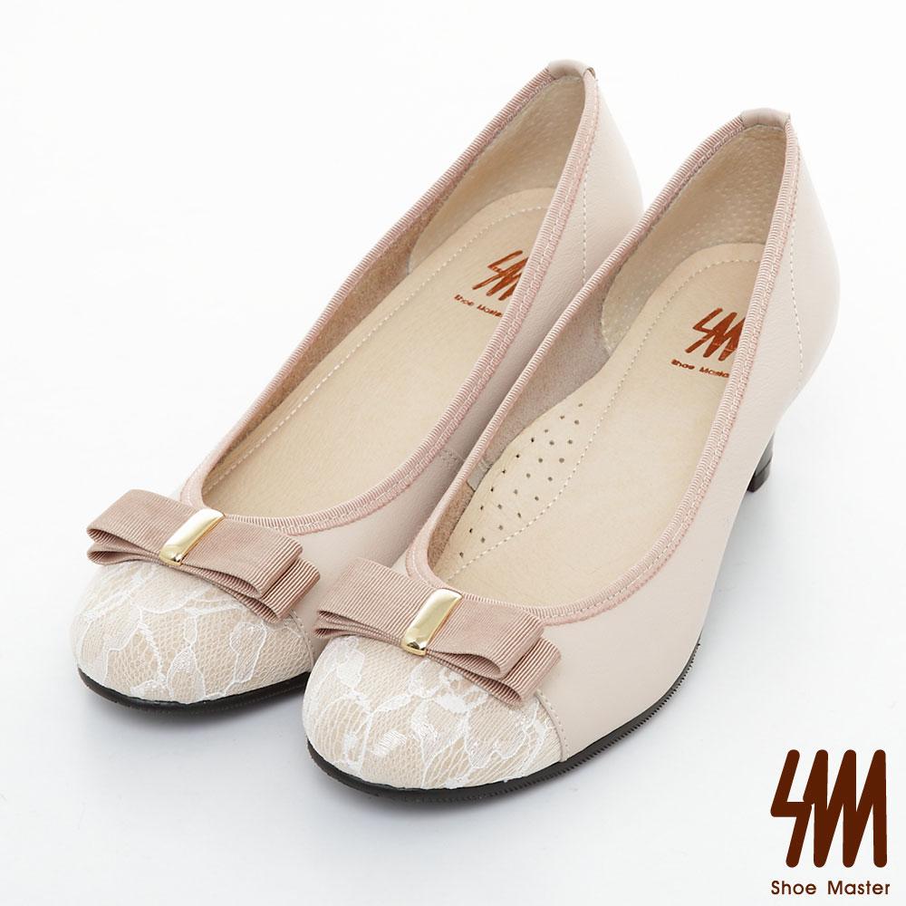 SM-台灣製真皮系列-蕾絲蝴蝶結雙色跟鞋-粉色