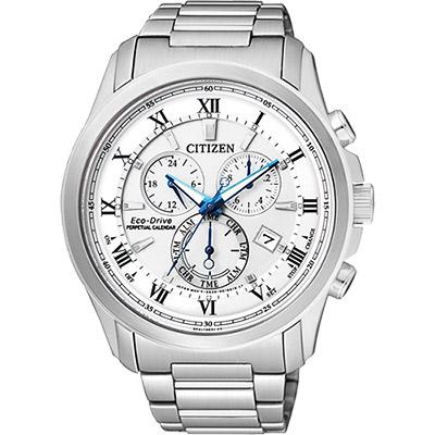 CITIZEN 亞洲限量光動能萬年曆腕錶(BL5540-53A)-白x銀/43mm