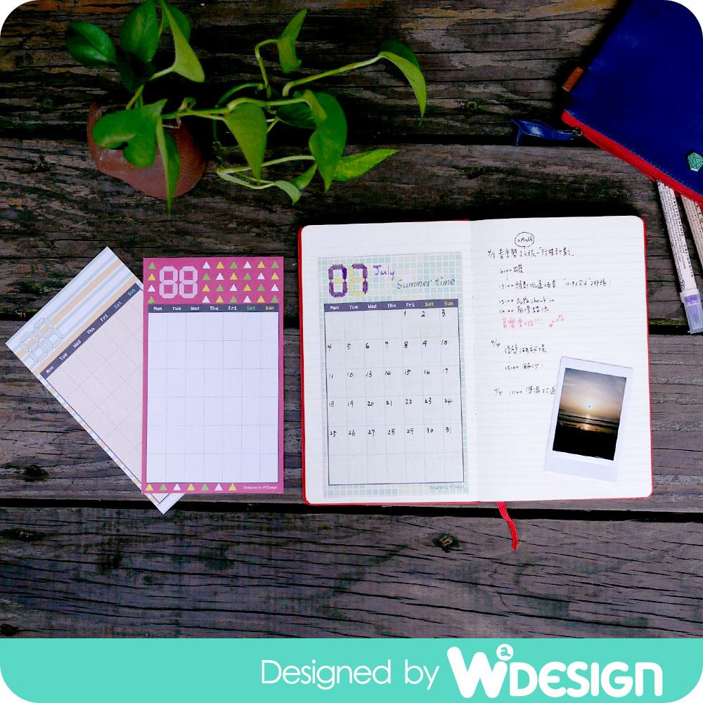 W2Design DIY手帳月曆貼-三入組(花漾時紛)