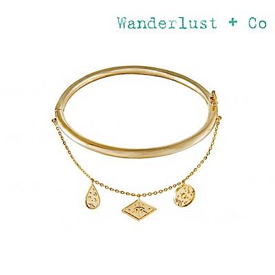 Wanderlust+Co 澳洲時尚品牌 魅力銀河系垂墜吊牌雙鍊手環 金色