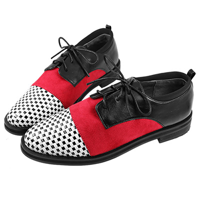 Robinlo&Co. 牛津編織異材質平底樂福鞋 紅
