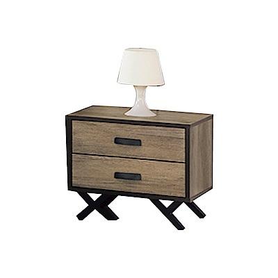 品家居 亞特蘭1.7尺橡木紋二抽床頭櫃-52x40x46cm-免組