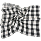 MARELLA 黑白千鳥格紋不修邊抽鬚圍巾/披肩