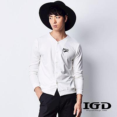 IGD英格麗 韓風經典棉質V領開襟長袖外套罩衫-白色