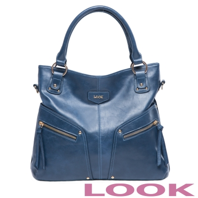 LOOK - Lucy露西系列 率性肩背包- 優雅藍