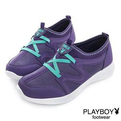 PLAYBOY 跳躍焦點 簡約運動風輕量休閒鞋-紫(女)
