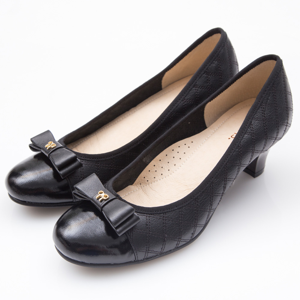 G.Ms. MIT系列-菱格車線牛皮蝴蝶結高跟鞋-黑色