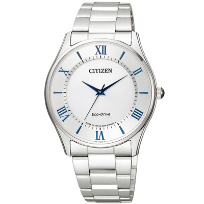 CITIZEN Eco Drive 羅馬紳士光動能錶(BJ6480-51B)-白/37mm
