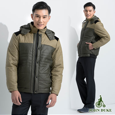 JOHN DUKE 經典保暖鋪棉立領防風外套_卡其色(15-6K2970)
