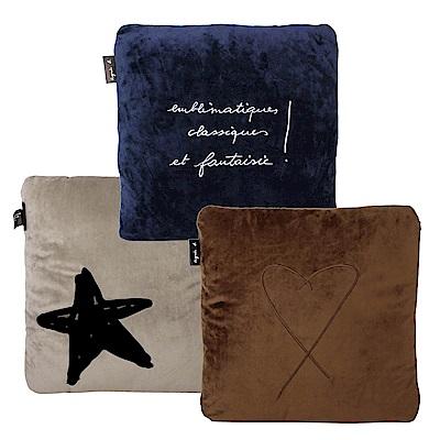 agnes b. logo抱枕3件組(咖啡+藍+米灰色)