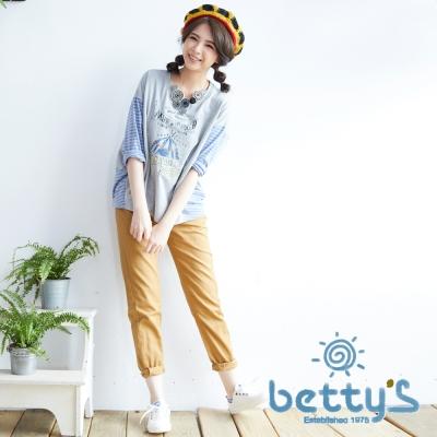 betty's貝蒂思 縫線拼接剪裁長褲(棕色)