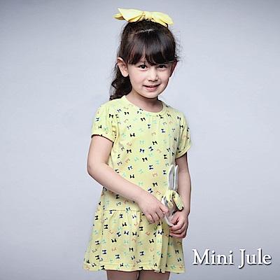 Mini Jule 童裝-洋裝 立體兔子彩色蝴蝶結短袖洋裝(黃)
