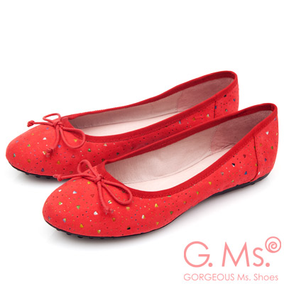 G.Ms.  戀彩鏤空愛心蝴蝶結豆豆鞋-熱情紅