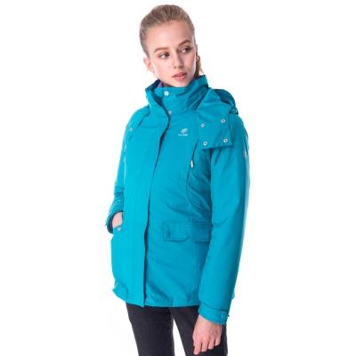【hilltop山頂鳥】女款GoreTex兩件式防水羽絨短大衣F22FU9藍