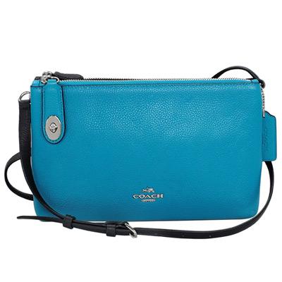 COACH藍黑撞色荔枝紋全皮雙層拉鍊袋斜背小包