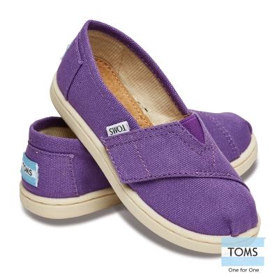 TOMS 經典帆布懶人鞋-幼童款(紫)