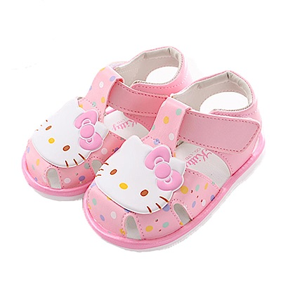 Hello kitty點點寶寶嗶嗶鞋 粉 sk0366 魔法Baby