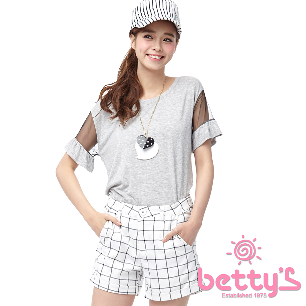betty's貝蒂思 袖身透視網織拼接T-shirt(淺灰)