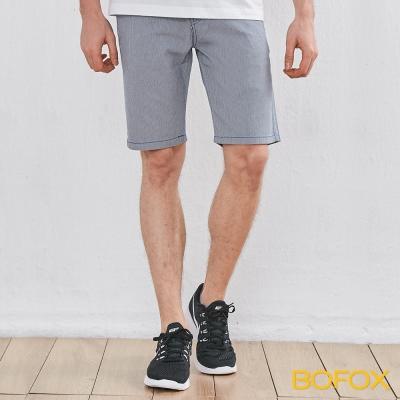 BOFOX 直條紋休閒短褲-灰藍