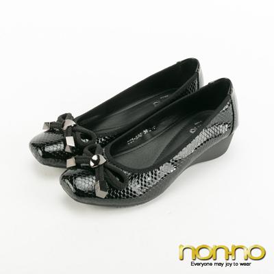 Nonno-方頭蝴蝶結菱格紋楔型跟鞋-黑