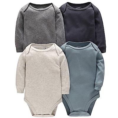Carters 美國 灰藍素面款長袖包屁衣5件組