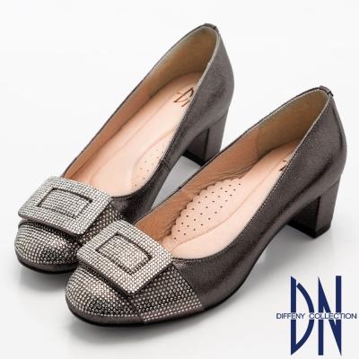 DN-奢華耀眼-華麗方形水鑽飾扣中跟鞋-灰