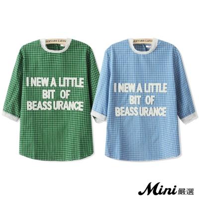 上衣 字母貼布拼接蕾絲格紋上衣 二色-Mini嚴選