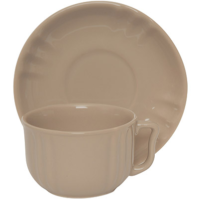 EXCELSA Chic陶製咖啡杯碟組(淺棕220ml)