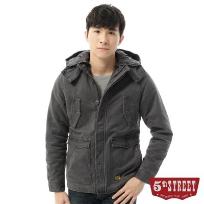 5th STREET 外套 剪裁鋪棉平織外套-男-灰褐