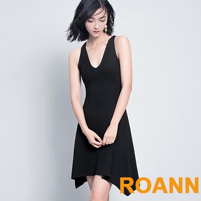 素面V領無袖不規則洋裝 (共三色)-ROANN