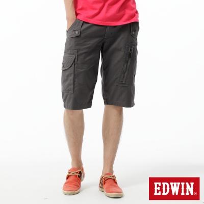 EDWIN-503-KHAKI-斜邊反折口袋休閒短