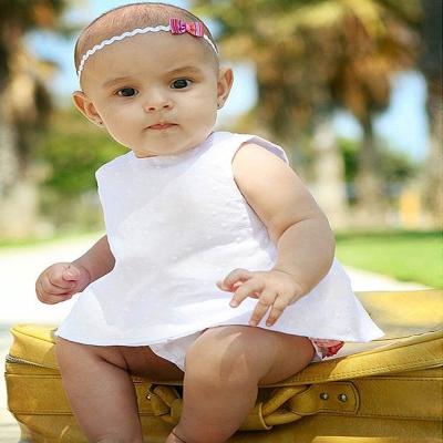 RuffleButts 小女童純潔白色裙擺衣