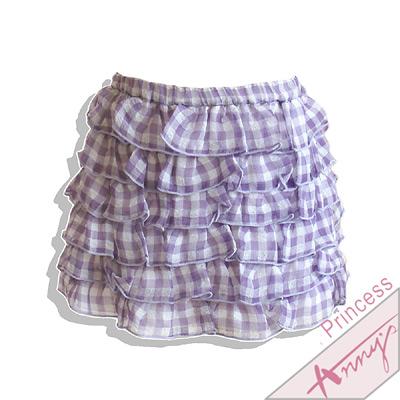 清新格紋蛋糕小短裙*紫