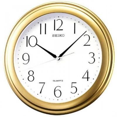 SEIKO 精工 數字面基本掛鐘-白x金框/28.7cm
