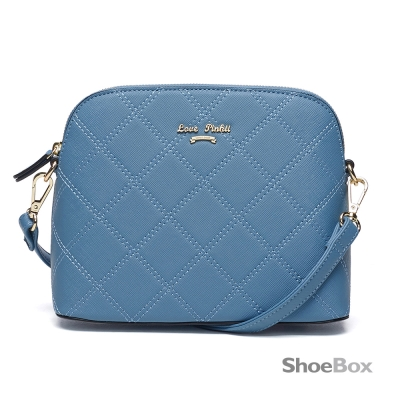 鞋櫃ShoeBox-女包-斜背包-菱格車線貝殼包-藍