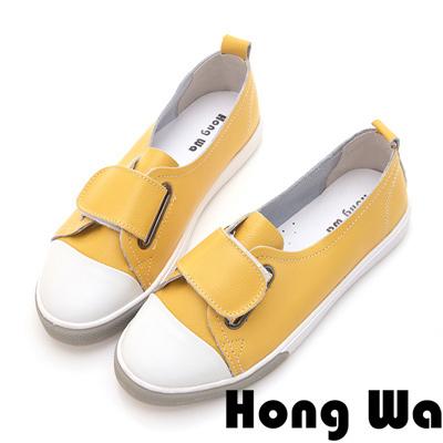 Hong Wa 日系撞色扣帶牛皮休閒便鞋 - 黃