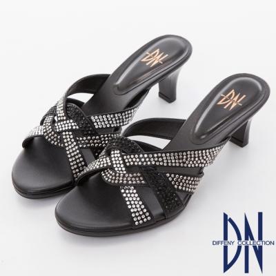 DN 低調奢華 魅力鏤空水鑽交織涼拖鞋-黑