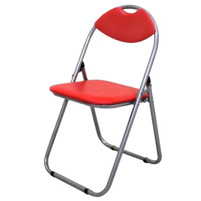 頂堅高背折疊椅休閒椅會議椅工作椅野餐椅露營椅紅色-4入組