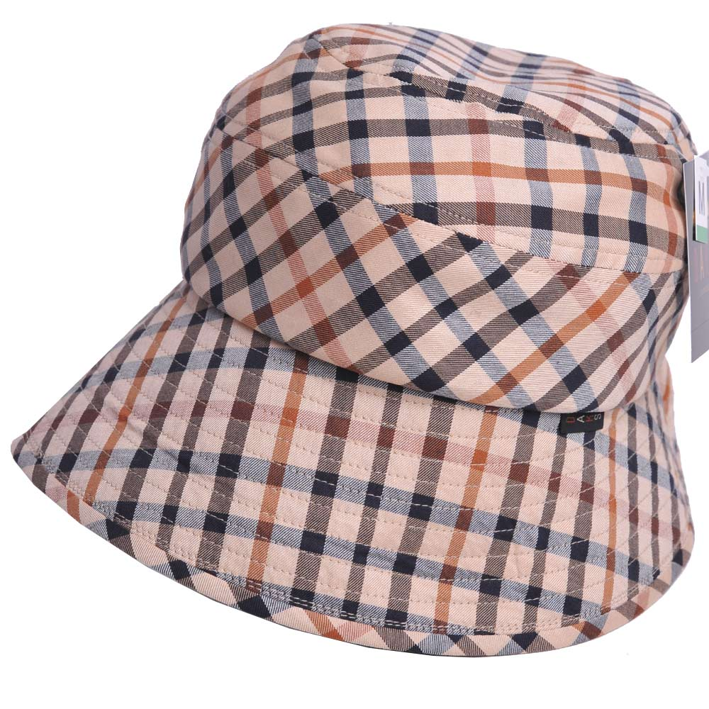 DAKS 優雅格紋LOGO抗UV纖維漁夫帽(卡其格)