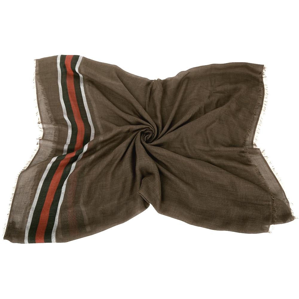 GUCCI 經典綠紅綠織紋流蘇批肩(咖啡色)