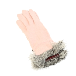CLATHAS 兔毛皮草安哥拉羊毛手套(粉色)