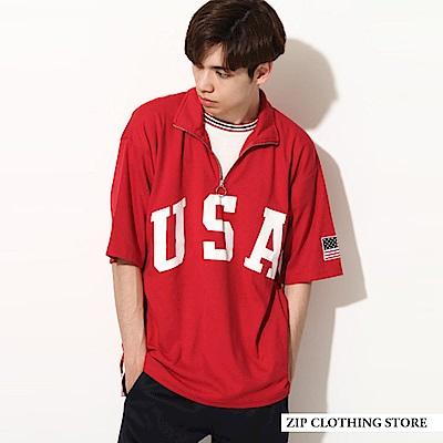 半拉鍊印花短袖T恤(4色) ZIP日本男裝