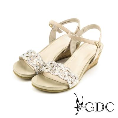 GDC-水鑽交叉鏤空軟木跟楔型厚底一字涼拖鞋-杏色