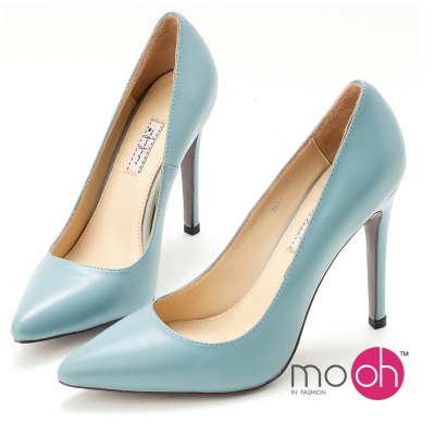mo-oh全真皮-義大利羊皮尖頭氣質細跟高跟鞋-藍