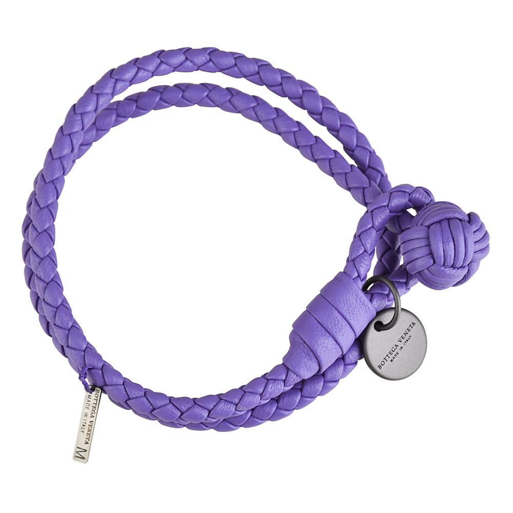 BV BOTTEGA VENETA 經典手工編織雙環小羊皮手環(薰衣草)