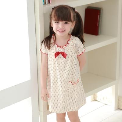 Annypepe 女童米印紅點短袖洋裝_美國精梳棉