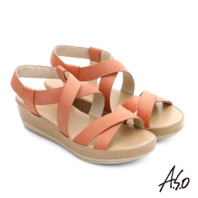 A.S.O 嬉皮假期 真皮彈力交叉寬帶涼鞋 橘紅色