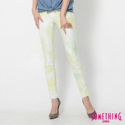 SOMETHING LADIVA暈染合身牛仔褲-女-青綠色
