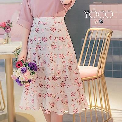 東京著衣-yoco 柔氛小碎花剪接波浪荷葉A字裙-S.M.L(共二色)
